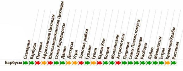 Таблица совместимости барбусы