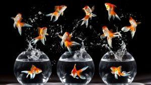 Золотые выпрыгивают из аквариума