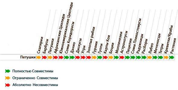 Таблица совместимости петушков